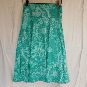 LuLaRoe Azure Skirt Green Tie Dye Stretch X Small